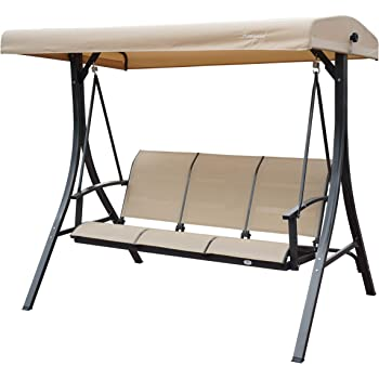 Kozyard Brenda 3 Person Outdoor Patio Swing with Strong Weather Resistant Powder Coated Steel Frame and Textilence Seats (Tan)