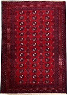 """Mohr and McPherson 3'9"""" X 6'2"""" Bright Red Repeat Pattern Turkoman Style Traditional Tribal Style Baluchi Handmade Rug"""