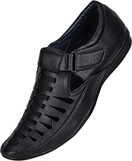 Emosis Men's Outdoor Formal Casual Ethnic Loafer Slip-On Sandal Shoe (Size: 10 UK, Color: Black)