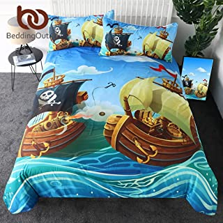 RKR Shop Pirate Duvet Cover Set Cartoon Boat Kids Bedding Set Nautical Ocean Boys Bedspreads 3-Piece Comforter Cover Single (Twin)