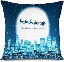 Ahawoso Throw Pillow Cover Square 16x16 Inch Merry Metropolis Christmas Happy Monochrome New Glow Year Celebration Landmarks Sled Holidays Rise Decorative Zippered Pillowcase Home Decor Cushion Case