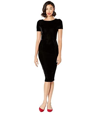 Unique Vintage 1960s Short Sleeve Stretch Mod Wiggle Dress (Black Velvet) Women