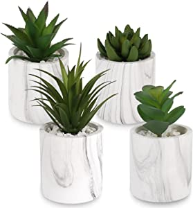 C APPOK Succulents Artificial Decor Plants Faux Succulent Plant in Pot - 4 Pack Fake Succulents Decorative Green Potted Plant for Indoor Outdoor Home, Desk Decor, Office Decoration, Wedding Gift