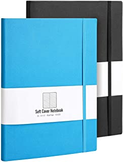 B5 College Ruled Notebook Softcover Journals(2-Pack)- AHGXG Large Composition Notebook 7.6 x 10 inch with Thick 100gsm Lined Paper, Total 408 Numbered Pages (Black Blue)