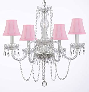 Murano Venetian Style All-crystal Chandelier with Pink Shades H25