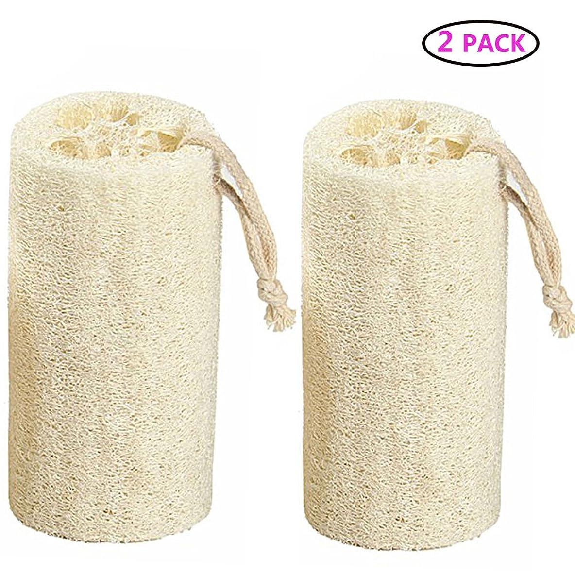 テレビ局姪海里Natural Loofah バスボディスポンジバスルームシャワーエクスフォレイティングスクラバーブラシボディスパマッサージャー 10cm (2 pack)