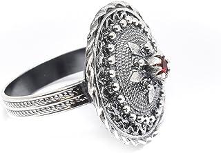 Marrocu Gioielli - Anello bottone sardo argento con pietra