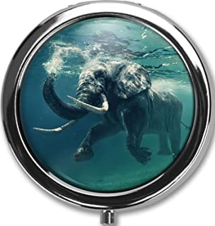 Swimming Elephant Custom Round Silver Pill Box Pocket 2.1 inches Medicine Tablet Holder Organizer Case for Purse