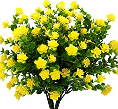 YISNUO Artificial Flowers, Fake Outdoor UV Resistant Plants Faux Plastic Greenery Shrubs Indoor Outside Hanging Planter Home Kitchen Office Wedding, Garden Decor(Yellow)