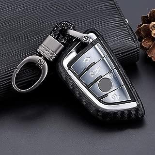 Royalfox(TM) Soft Silicone Carbon Fiber Style Smart keyless Remote Key Fob case Cover for BMW 1 2 5 7 M Series,BMW X1 X3 X4 X5 X6 X7 Keychain (for BMW New Key)
