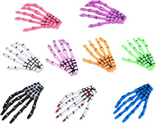 gShopVV Set of 11 White bloodstain Skeleton Hands Bone Hair Clips Fashion punk rock devil claw crocodile ha...
