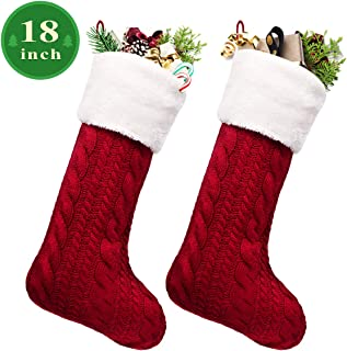 LimBridge Christmas Stockings, 2 Pack 18 inches Large Luxury Cable Knit Knitted Faux Fur Cuff, Xmas Rustic Personalized Stocking Decorations for Family Holiday Season Decor, White or Burgundy