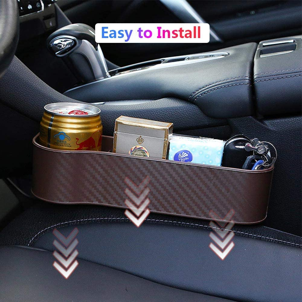 Multifunctional Car Seat Gap Organizer with Cup Holder NOT FIT Central Console Lower Than The Seat Front Seat Storage Box Brown Wrdlosy Car Seat Gap Organizer