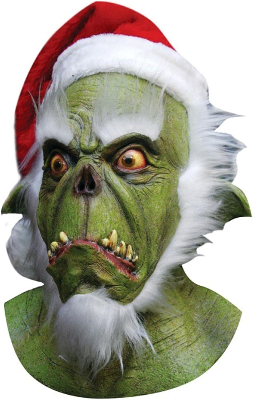 Mask Head & Neck Green Santa Monster