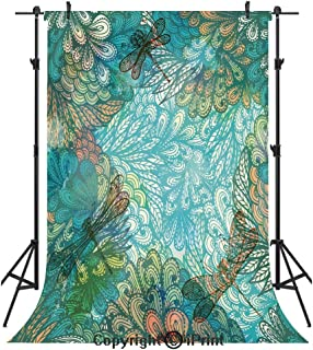 Dragonfly Photography Backdrops,Fantasy Flowers Mixed in Various Tones Shabby Chic Feminine Beauty Print Decorative,Birthday Party Seamless Photo Studio Booth Background Banner 5x7ft,Turquoise Amber