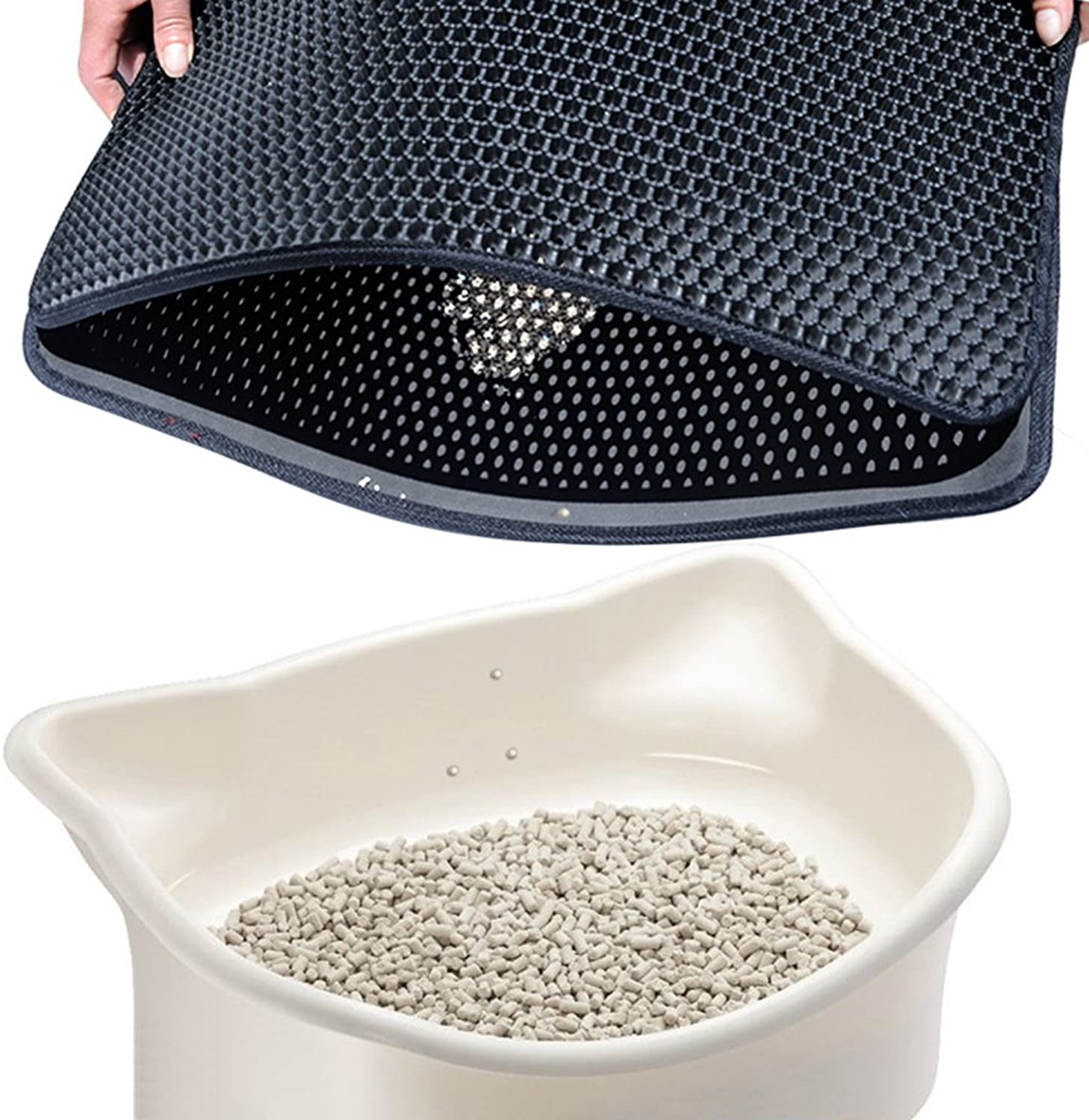 APMIX DoubleLayer Honeycomb Cat Litter Mat Phthalate Free, Traps Litter Premium Cat Box ,Durable and Easy to Clean.