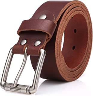 SUNAHEAD Men's Casual Leather Belt Cut-to-Fit Italian Full Grain Cow Hide Vintage Hand Crafted Jeans Belt 1.5 Wide