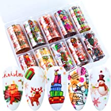 Christmas Nail Foil Transfer Stickers Nail Art Decals XMAS Party Accessories Wraps with Snowman Christmas Tree Snowflake Santa Claus Bell Design DIY Fingernail Toenail (10 PCS,1Box)