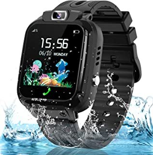 Smart Watch for Kids Girls Boys, IP67 Waterproof Kids Smartwatch w GPS Tracker, HD Touch Screen Call Alarm SOS Camera Cell Phone Watches for Children 3-14 Ages Birthday Gifts(Black)