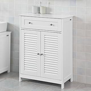 SoBuy Armario de almacenaje Mueble Auxiliar para baño- 1 cajones y 2 Puertas FRG238-WES