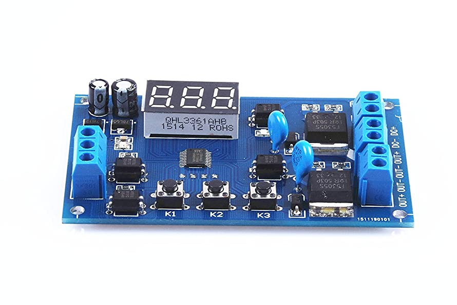 KNACRO Two-Way Solenoid Valve Pump Control Switch Module Dual mos Tube Module Cycle delay Timer Universal 12V / 24V