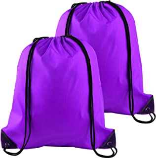 2Pcs Drawstring Backpack Bags Sports Cinch Sack String Backpack Storage Bags for Gym Traveling (Purple)