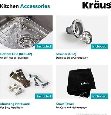 Kraus KBU12 23 inch Undermount Single Bowl 16 gauge Stainless Steel Kitchen Sink
