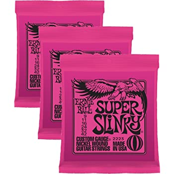Ernie Ball, Super Slinky Electric Guitar Strings 9-42 (Pack of 3 Sets) (2223x3)