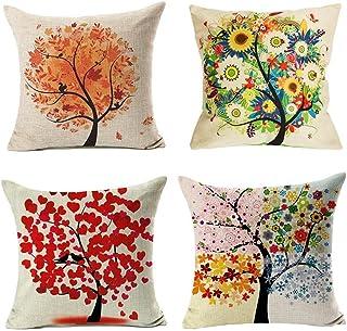 4 Pack Colorido Otoño Flor Árbol de Algodón de Lino Throw