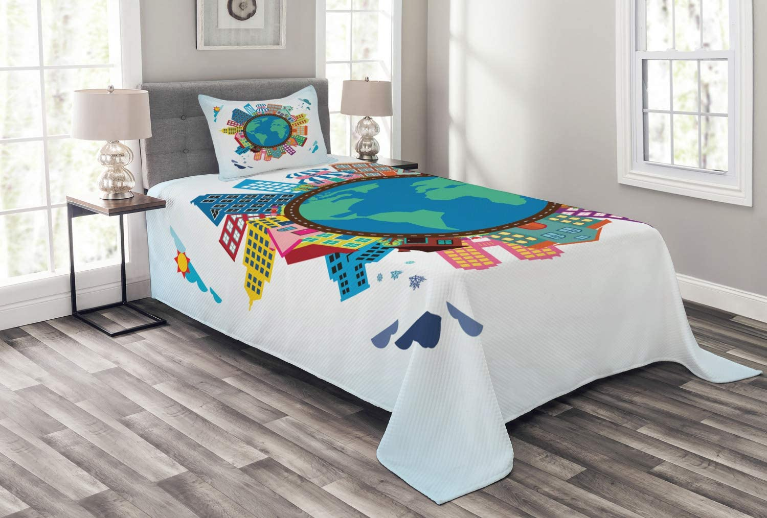 Ambesonne Overseas parallel import regular item World Map Bedspread Max 50% OFF of Illustration Cartoon Abstract
