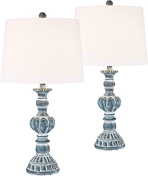 Tanya Traditional Table Lamps Set Of 2 Blue Washed Tapered Drum Shade For Living Room Bedroom Bedside Nightstand Office Family Regency Hill