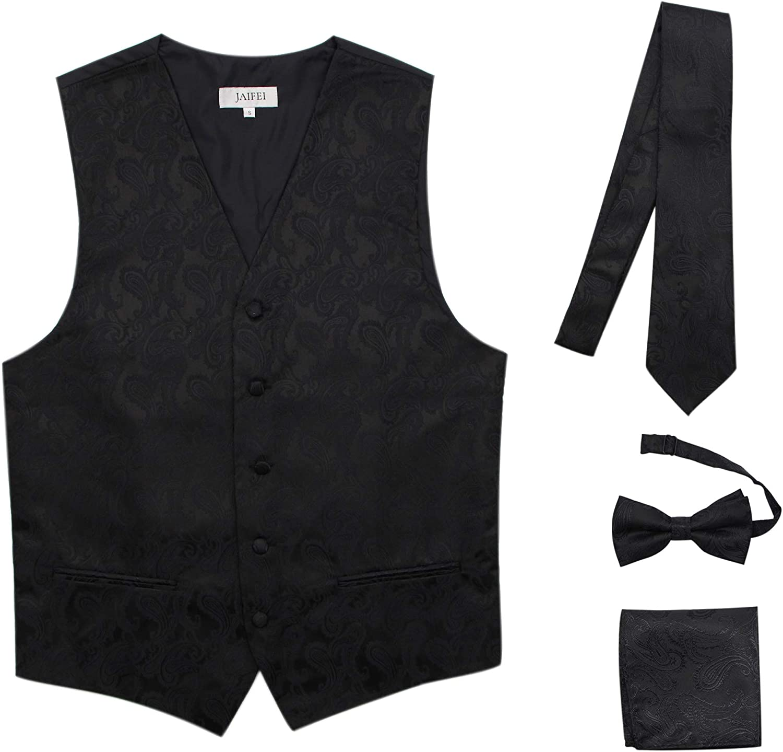 JAIFEI Premium Men's 4-Piece Paisley Vest for Sleek Looks On Formal Occasions
