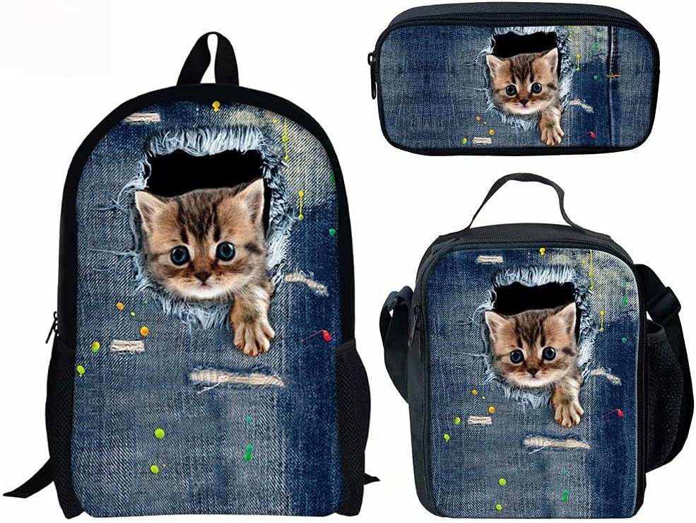 Cumagical 3-piece Now free shipping Denim At the price Kitten Backpack with Daypack Casual Set