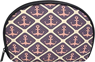 ALAZA Anchor Checkered Half Moon Cosmetic Makeup Toiletry Bag Pouch Travel Handy Purse Organizer Bag for Women Girls