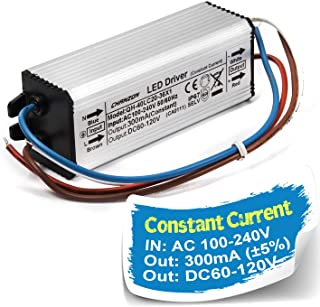 Chanzon LED Driver 300mA (Constant Current Output) 60V-120V (Input 100-240V AC-DC) (20-36) x1W 20W 24W 30W 36W IP67 Waterproof High Power Supply 300 mA Lighting Transformer for COB Chips (Aluminium)