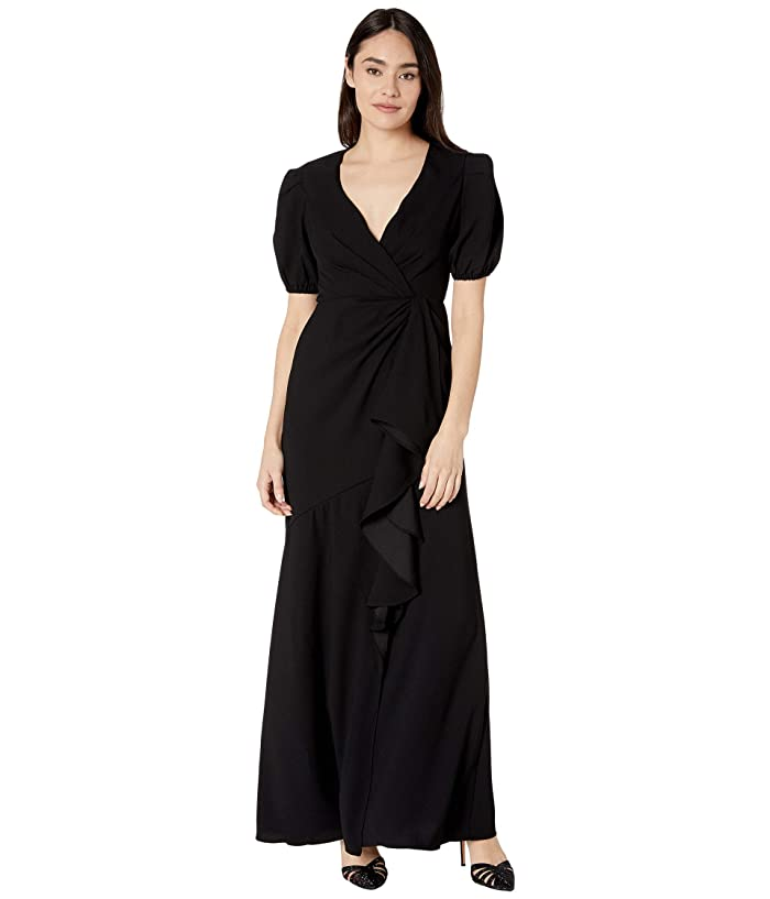 ML Monique Lhuillier  Short Sleeve Crepe Gown with Ruffle Front (Jet) Womens Dress