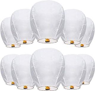 فانوس های چینی Wishing Lantern 100٪ ECO Friendly زیست تخریب پذیر کاغذهای فانوس با کاغذ مقاوم در برابر آتش برای مراسم عروسی مراسم یادبودها و جشن های جشن (10 بسته)