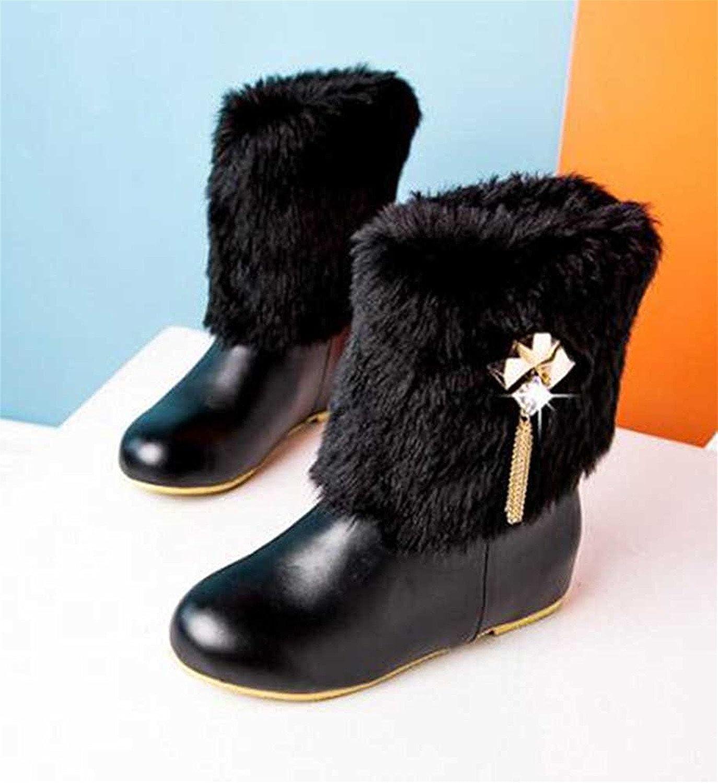 Robert Reyna Fashion Women's Sweet Faux Fur Rhinestone Solid Round Toe Low Heel Warm Winter Boots