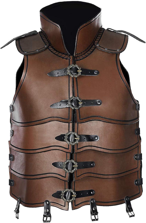 Andracor - Lorica Segmentata - Lamellen Rüstung aus echtem Leder mit viel Bewegungsfreiheit für LARP, Cosplay, Verkleidung und Mittelalter - Braun