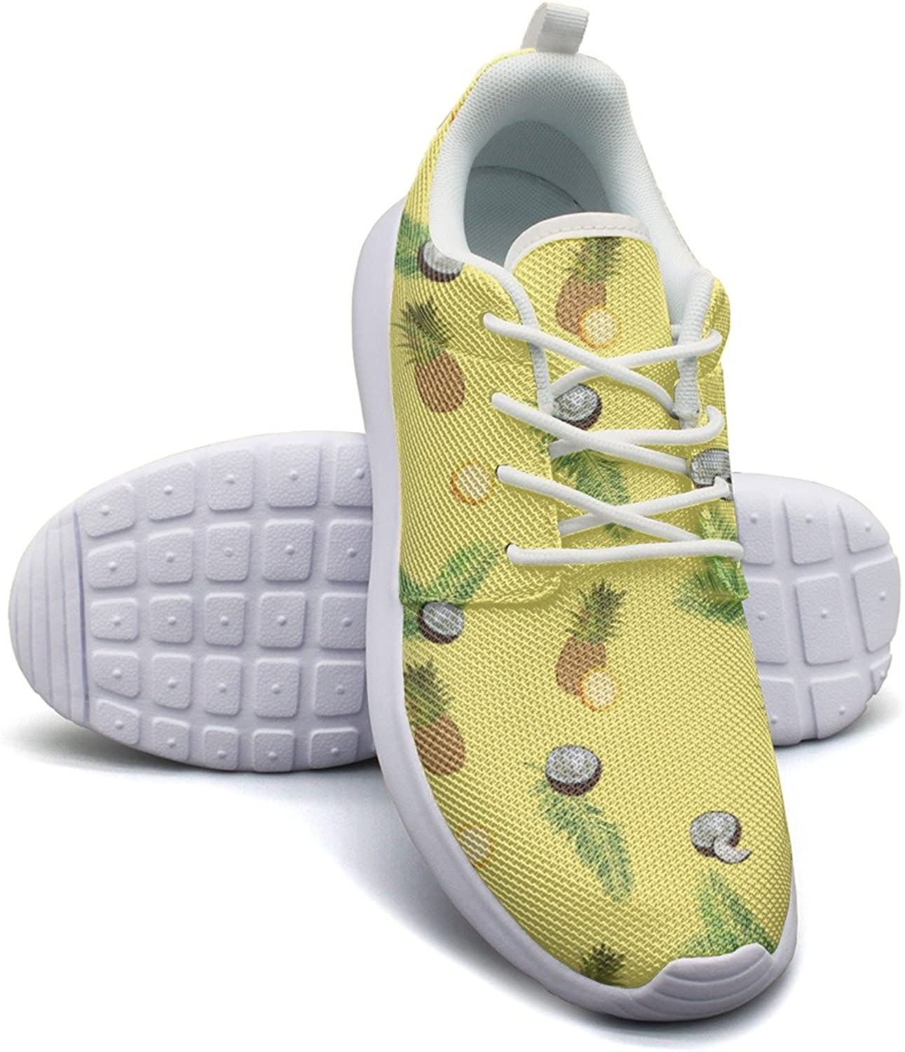 Yellow Pineapple Coconut Palm Women's Lightweight Mesh Volleyball Sneakers Unique Gym shoes