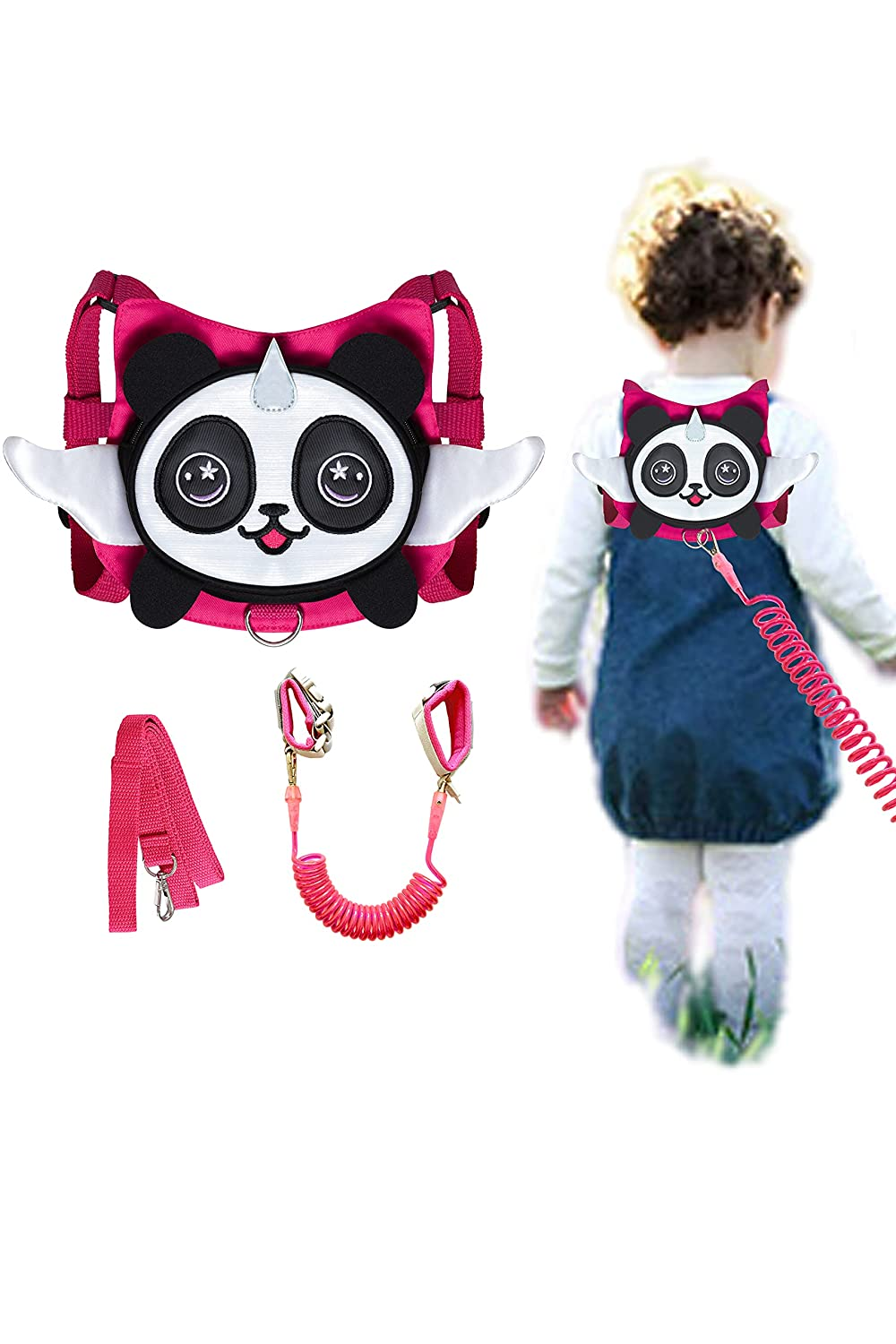 Panda Toddler Harness with Leash Child Anti-Lost Wrist Link Leash Kid Wristband (Rose)