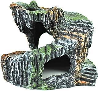 亀隠れ家、爬虫類シェルター、飼育、加湿生息地の装飾 (回転形状)