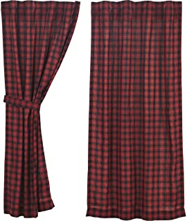 VHC Brands Rustic & Lodge Window Cumberland Red Short Curtain Panel Pair, Chili Pepper