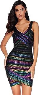 Women's Bandage Dress V-Neck Sleeveless Bodycon Foil Dress