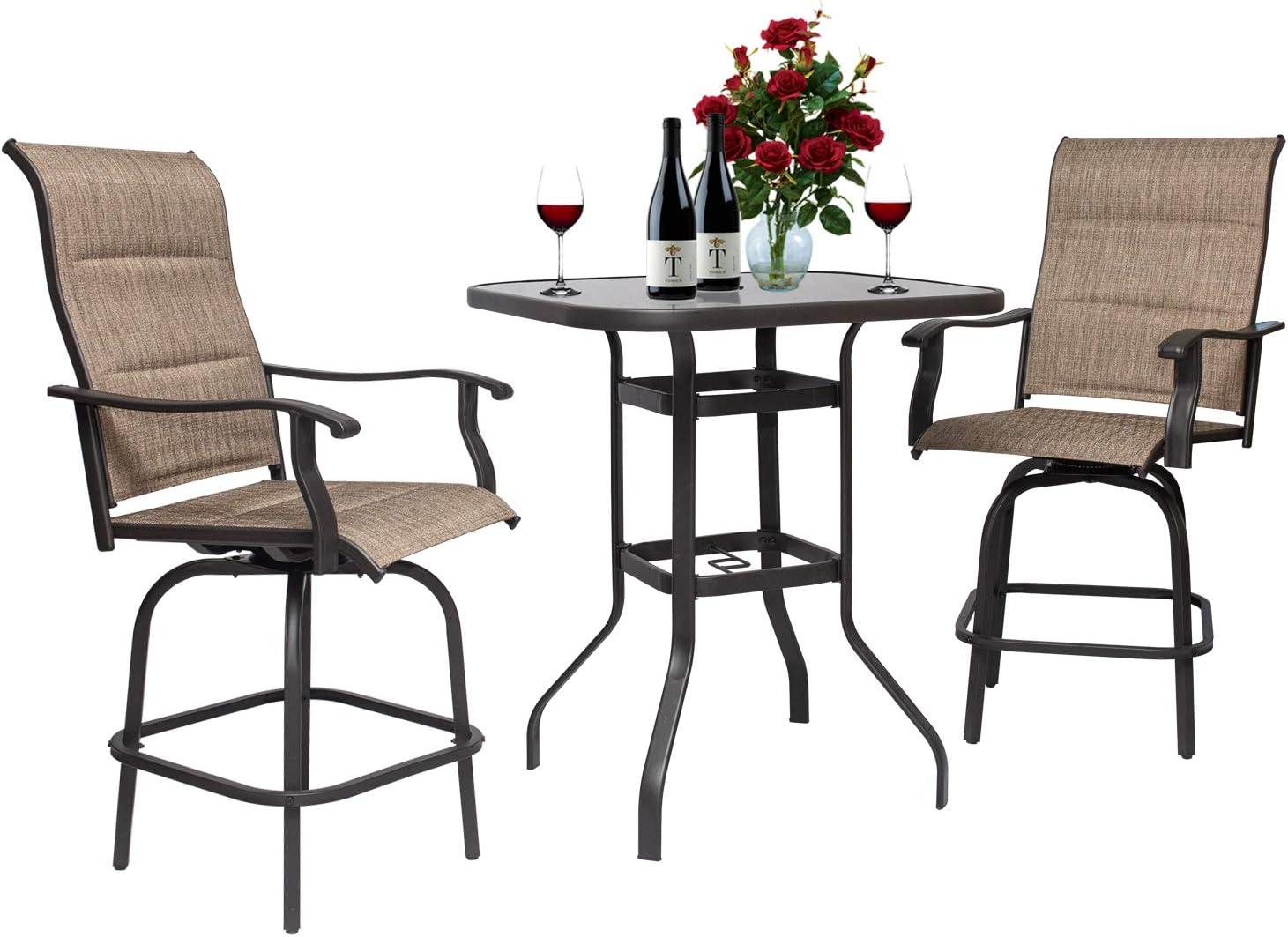 Buy On Shine 10 PCS Outdoor Furniture Patio Swivel Bar Set Height ...