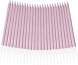 Aplusplanet 24 Count Pink Birthday Candles Metallic Long Thin Pink Cake Candles in Holders for Cupcake Wedding Cake Birthd...