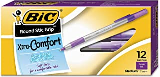 Round Stic Grip Xtra Comfort Ballpoint Pen, Purple Ink, 1.2mm, Medium, Dozen
