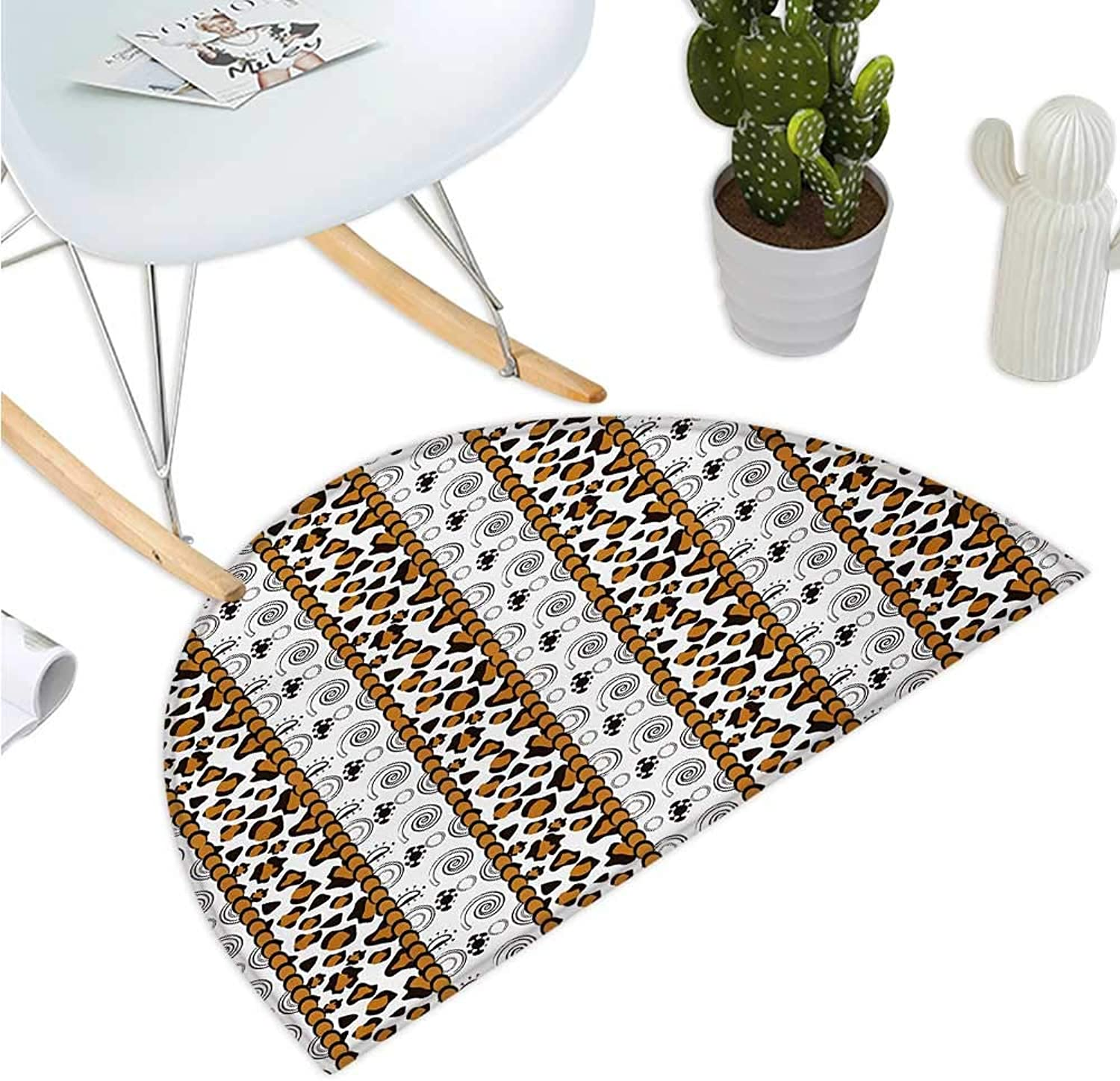 Zambia Semicircular Cushion Cheetah Leopard Skin Pattern with Wildlife Featured Spirals Illustration Halfmoon doormats H 39.3  xD 59  Amber Brown White
