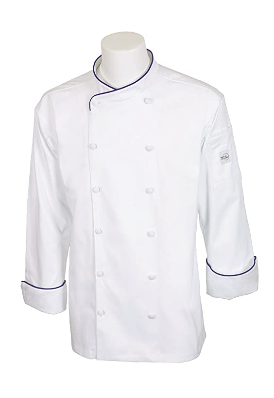 Mercer Culinary M62020WRB1X Renaissance Men's Scoop Neck Chef Jacket, X-Large, White with Royal Blue Piping