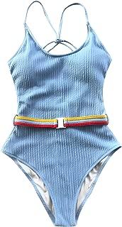 CUPSHE Women's Make Me Proud Low Back Cross One-Piece Swimsuit Bathing Suit